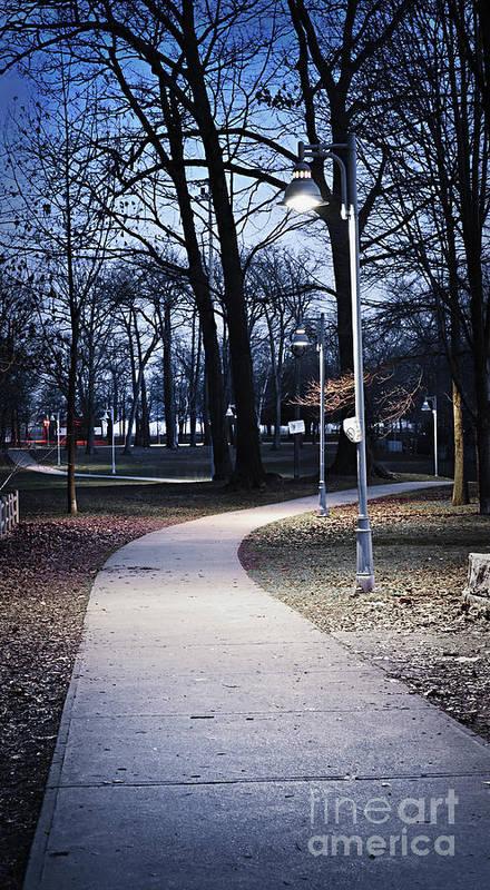 Park Art Print featuring the photograph Park Path At Dusk by Elena Elisseeva