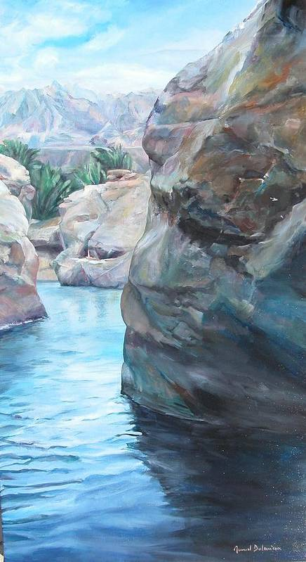 Landscape Art Print featuring the painting Canyon by Muriel Dolemieux