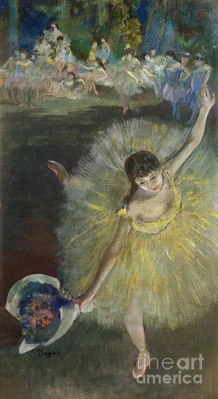 End Of An Arabesque Art Print featuring the pastel End Of An Arabesque by Edgar Degas