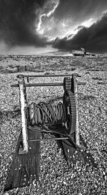 Winch Art Print featuring the photograph Fishing Boat Graveyard 8 by Meirion Matthias