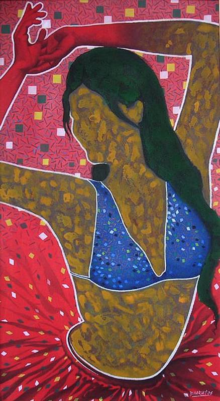 Female Art Print featuring the painting Floating Fantancy 7 by Bharat Gothwal