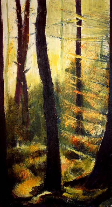 Forest Art Print featuring the painting Forest Evening by Fiona Jack