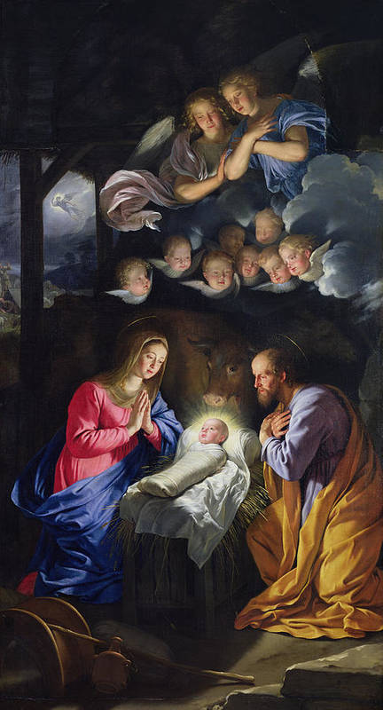 Jesus;infant Christ;virgin Mary;madonna;joseph;cherubim;seraphim;angels;angel;swaddling Clothes;praying;prayer;stable; Christ Art Print featuring the painting Nativity by Philippe de Champaigne