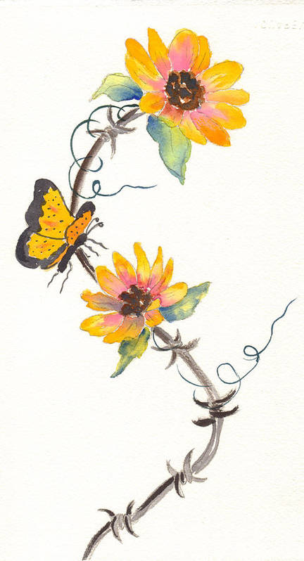 Sunflowers Art Print featuring the painting Robyn's Sunflowers by Ruth Bevan