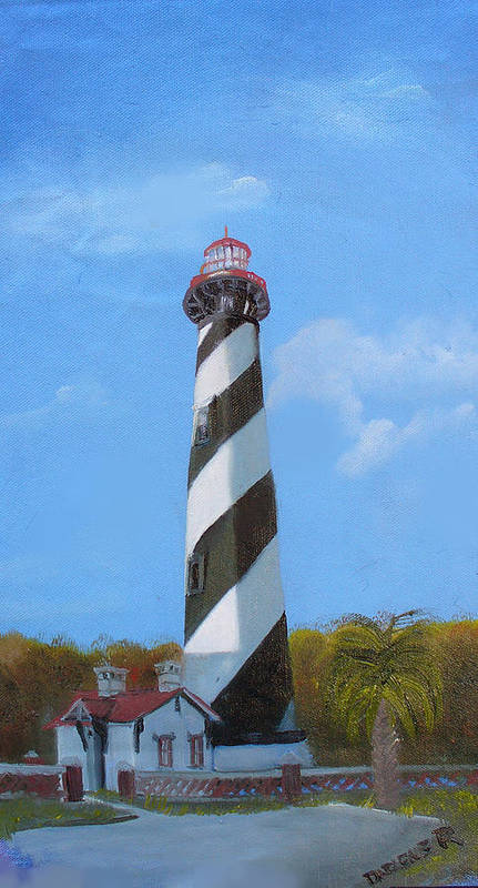 Lighthouse Art Print featuring the painting St Augusstine Lighthouse by Darlene Green