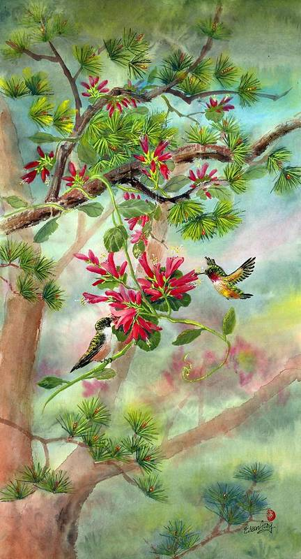 Hummingbirds Art Print featuring the painting Sweet Journey by Eileen Fong