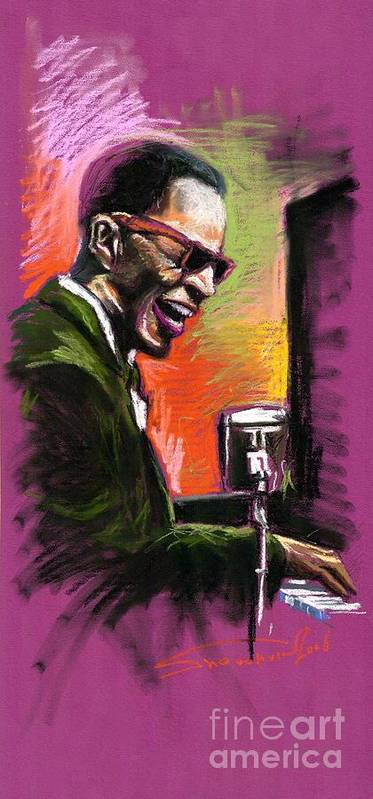 Art Print featuring the painting Jazz. Ray Charles.2. by Yuriy Shevchuk