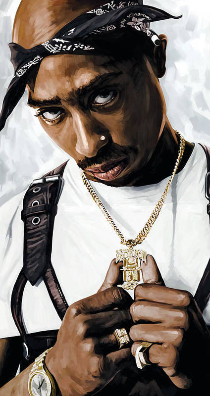 Tupac Shakur Paintings Art Print featuring the painting 2Pac Tupac Shakur Artwork by Sheraz A