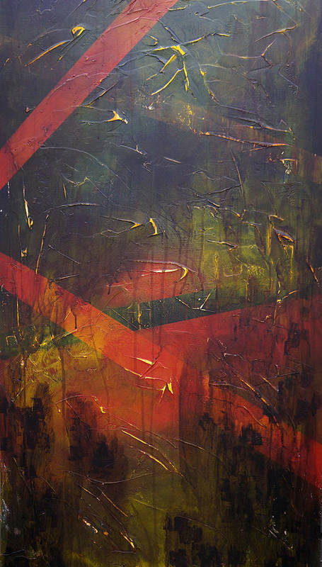 Abstract Art Print featuring the painting Komposition z by Sergey Bezhinets