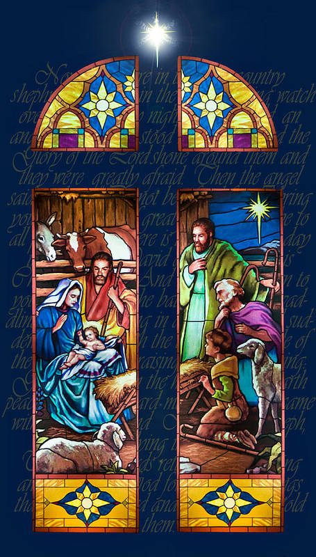 Christmas Card Art Print featuring the painting The Nativity by Jean Hildebrant