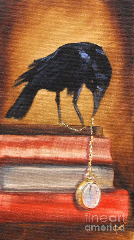 Poe Art Print featuring the painting The Timekeeper by Stella Violano