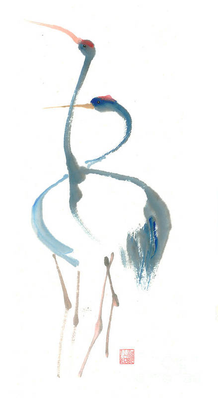 A Pair Of Cranes Dancing Art Print featuring the painting Duet by Mui-Joo Wee