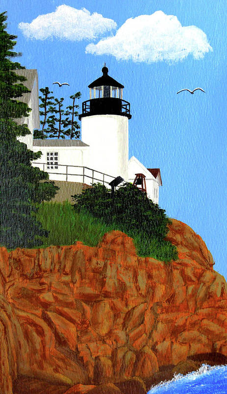 Lighthouse Art Print featuring the painting Bass Harbor Head Lighthouse Painting by Frederic Kohli