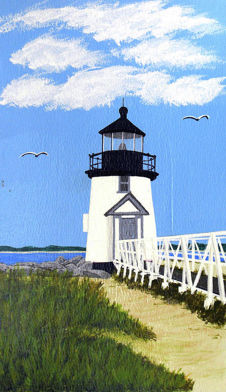 Lighthouse Art Print featuring the painting Brant Point Lighthouse Painting by Frederic Kohli
