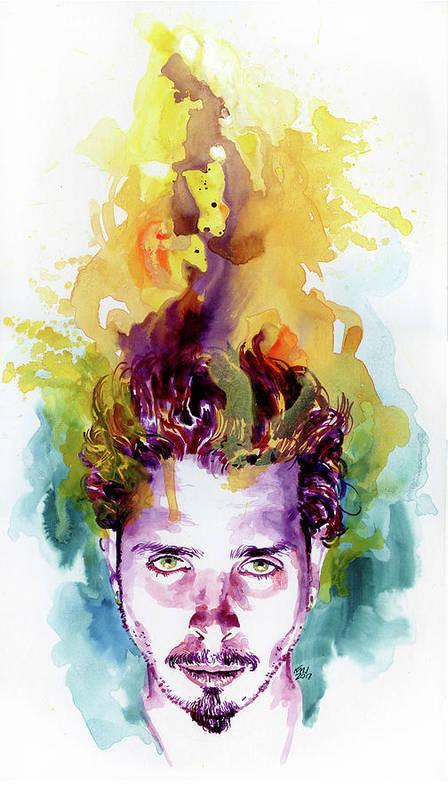 Soundgarden Art Print featuring the painting Chris Cornell 2 by Ken Meyer jr