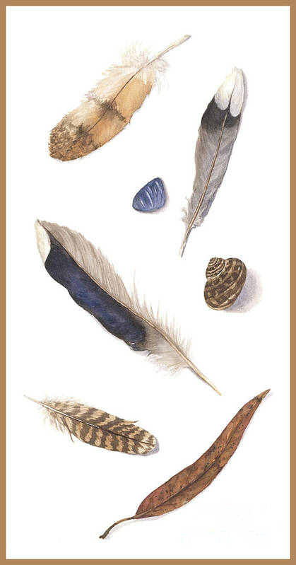 Feathers Art Print featuring the painting Found Treasures by Lucy Arnold