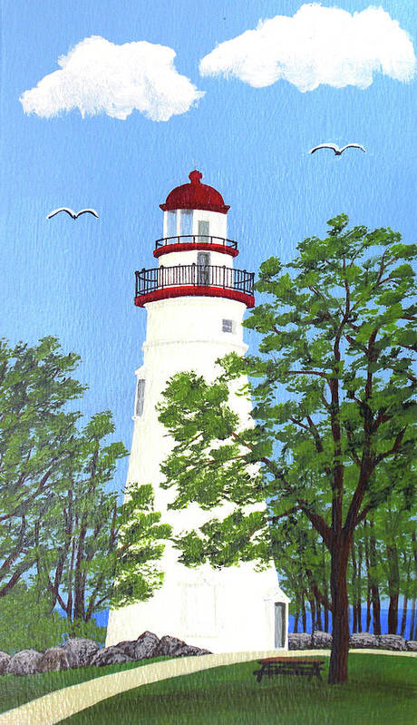 Lighthouses Art Print featuring the painting Marblehead Lighthouse Painting by Frederic Kohli