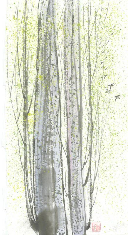 New Leaves Sprung Out From A Polar Tree With Birds Singing Among The Branches Art Print featuring the painting New Leaves by Mui-Joo Wee