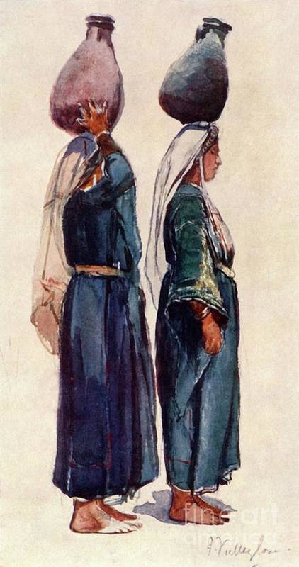 Farm Worker Art Print featuring the drawing Studies Of Syrian Peasant Women by Print Collector