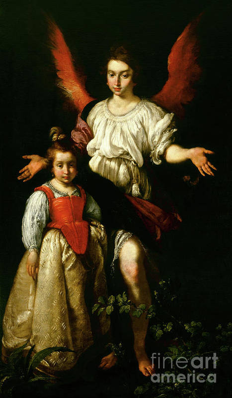 The Guardian Angel Art Print featuring the painting The Guardian Angel by Bernardo Strozzi