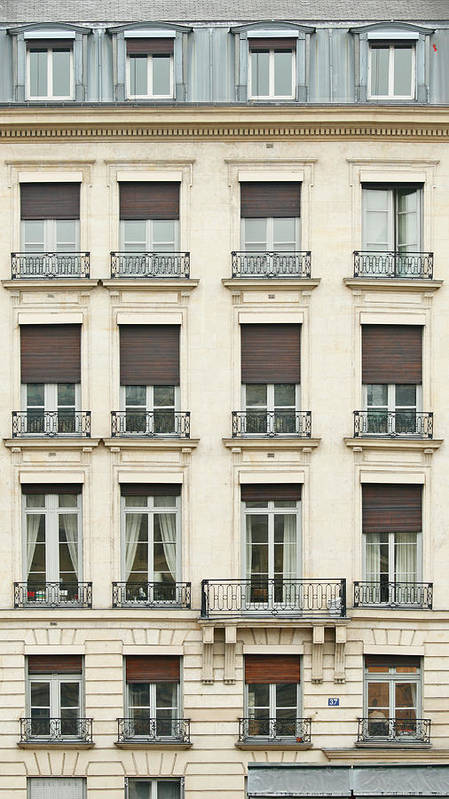 Apartment Art Print featuring the photograph Front View Of Paris Architecture by S. Greg Panosian