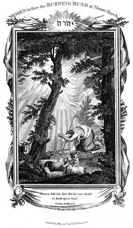 Engraving Art Print featuring the drawing Moses Hiding His Face, 1807. Artist Anon by Print Collector