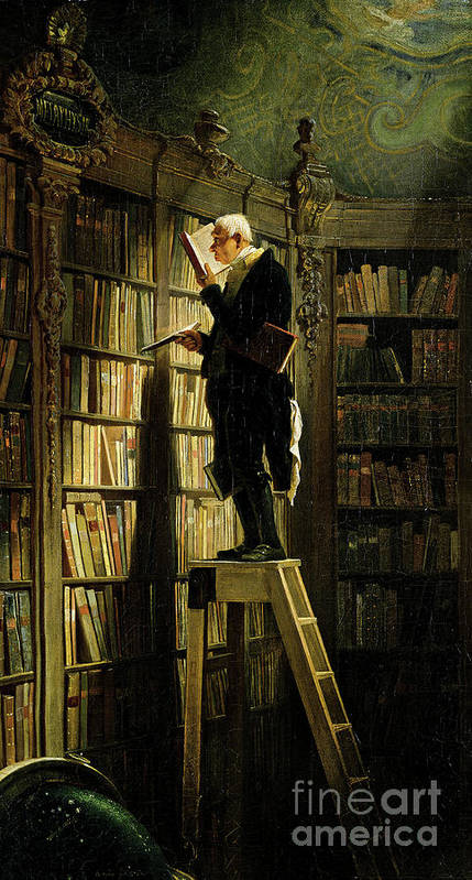 Librarian Art Print featuring the drawing The Bookworm by Heritage Images
