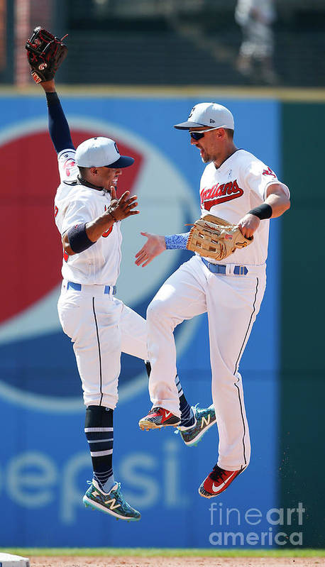 People Art Print featuring the photograph Lonnie Chisenhall and Francisco Lindor by Ron Schwane