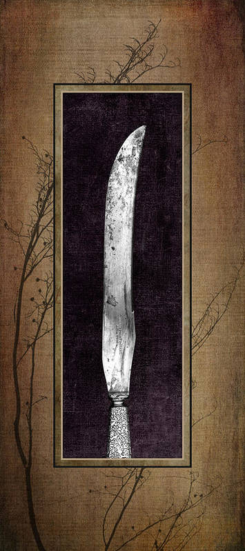 Antique Art Print featuring the photograph Carving Set Knife Triptych 2 by Tom Mc Nemar