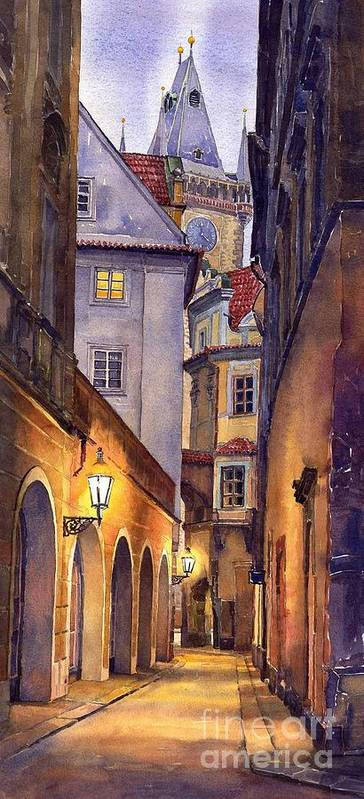 Cityscape Art Print featuring the painting Prague Old Street by Yuriy Shevchuk