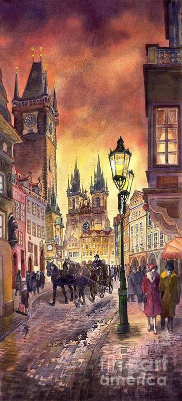 Cityscape Art Print featuring the painting Prague Old Town Squere by Yuriy Shevchuk