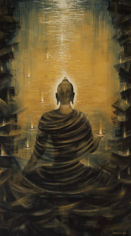 Buddha Art Print featuring the painting Buddha. Nirvana Ocean by Vrindavan Das