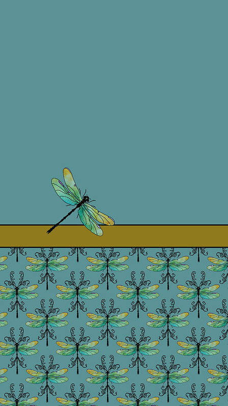 Dragonfly Art Print featuring the mixed media Dragon Fly Nouveau by Jenny Armitage