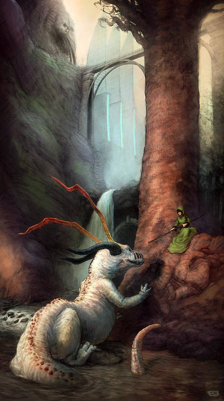 Woman Art Print featuring the painting Frigga And The Water Dragon by Ethan Harris