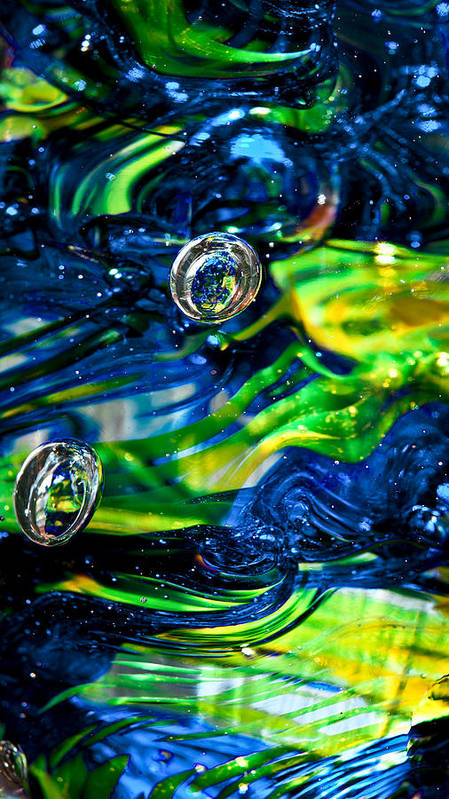 Seattle Seahawks Art Print featuring the photograph Glass Macro - Seahawks Blue And Green -13e4 by David Patterson