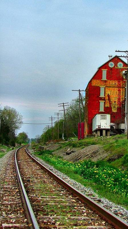 Old Feed Mills Art Print featuring the photograph Old Mill On The Tracks by Julie Dant
