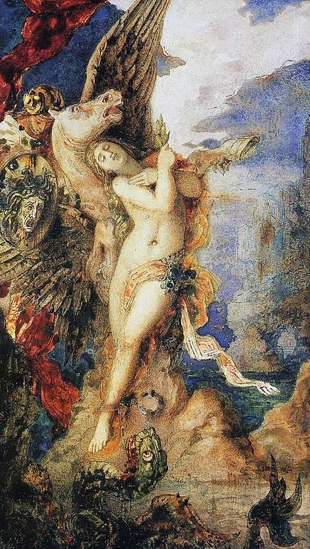 Mythological; Mythology; Greek Myth; Female; Nude; Sacrifice; Chained; Tied; Rock; Sea Monster; Beast; Dragon; Serpent; Rescue; Rescuing; Saving; Male; Pegasus; Horse; Wings; Winged; Shield; Head; Gorgon; Medusa; Rocks; Rocky; Hero; Lovers Print featuring the painting Perseus And Andromeda by Gustave Moreau
