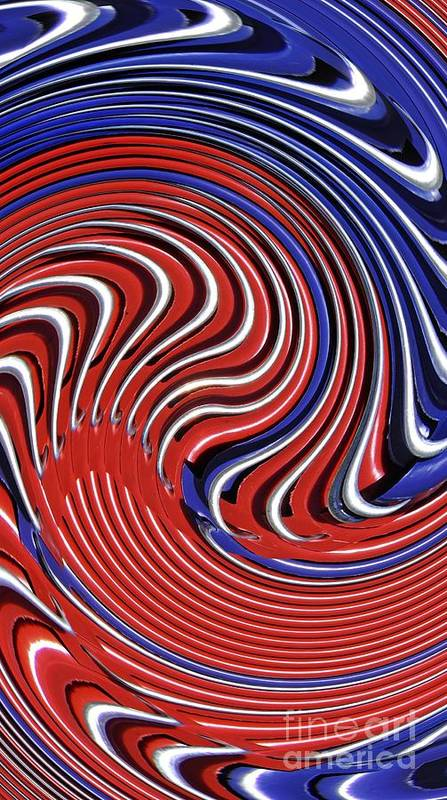 Swirl Art Print featuring the digital art Red White And Blue by Sarah Loft