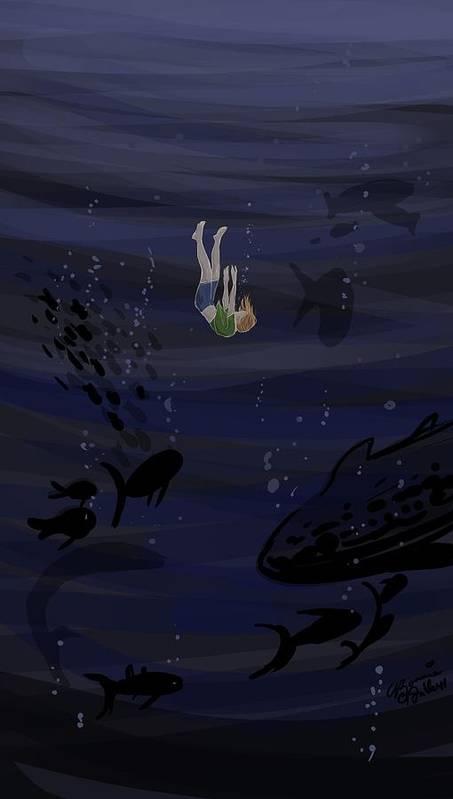 Falling Art Print featuring the digital art Sinking by Bonnie Fuller