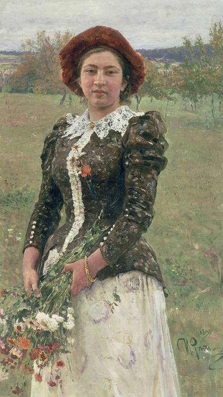 Female; Woman; Flowers; Exterior; Peredvizhniki; Peredvizhniki Group Art Print featuring the painting Spring Bouquet by Ilya Efimovich Repin