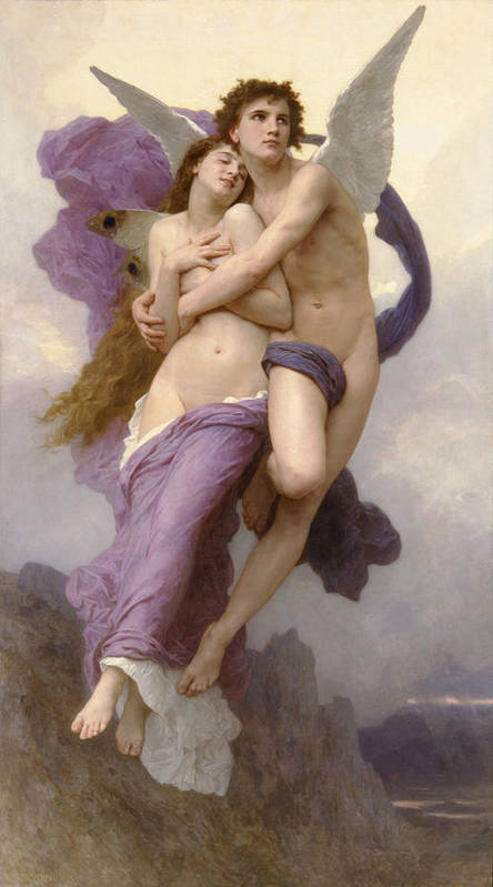 The Abduction Of Psyche Print featuring the painting The Abduction Of Psyche by William Bouguereau