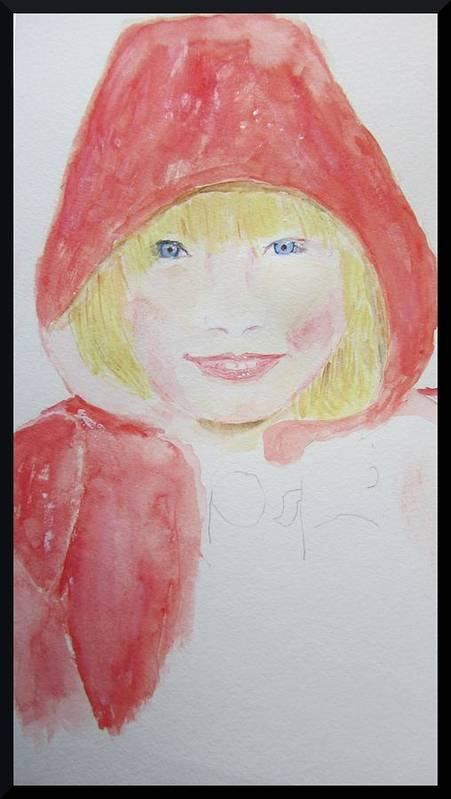 Water Color Portrait Art Print featuring the painting Girl In A Red Hood by Gary Kirkpatrick