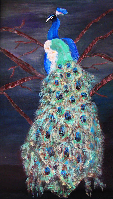 Peacock Art Print featuring the painting Peacock by Mikki Alhart