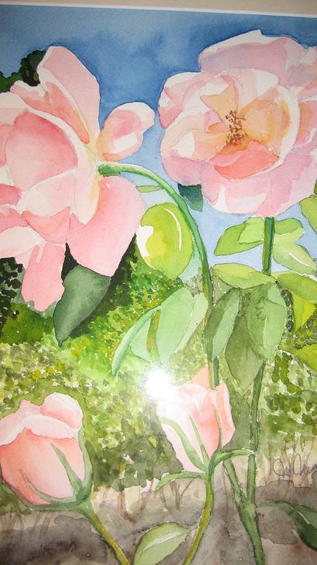Flowers Art Print featuring the painting Pink Dream by Mabel Moyano