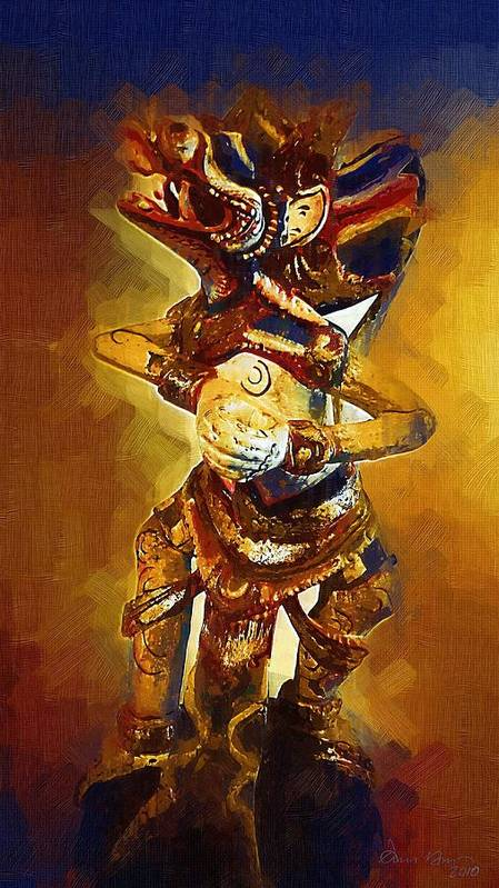 Asian; Dragon; Paintings; Photographs; Sculptures; Asia; Oriental; San Diego; La Jolla; Framed; Portraits; Standard; Canvas; Prints; Yellow; Blue; Gold;  Art Print featuring the painting Asian Dragon Man by Russ Harris