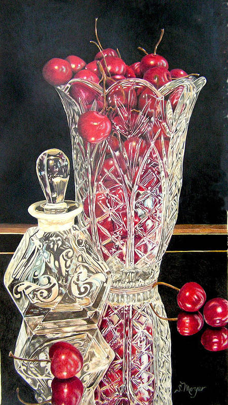 Fruit Art Print featuring the drawing Cherries Jubilee by Susan Moyer