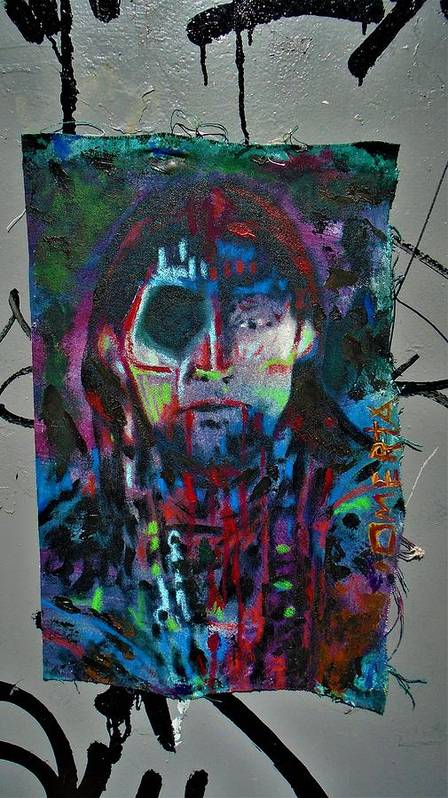 #omertamoll #bluefaerytale #painting #canvas #gesso #mixedmedia #pintura #gothicspirit #oneeye #darkart #pintura #artegotica #rainbowcolors #adoll #oilpastels #acrylic #oilpaint #preparedcloth #contedrawing #under Art Print featuring the mixed media Chukies Wife by Teresa Omerta Moll-Arruza