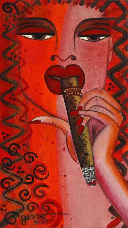 Cigar Artwork Art Print featuring the painting Cigar Moment Corona Cigar by Helen Gerro