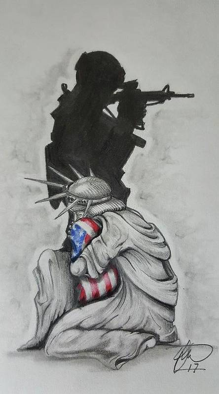 Liberty Art Print featuring the drawing Defending Liberty by Howard King