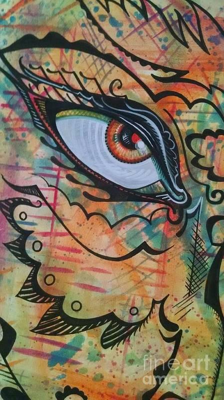 Art Print featuring the drawing Eye In Orange by Stewart Knight